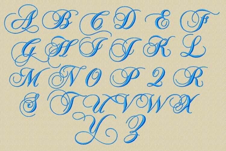 ♥ Motifs machine à broder : Alphabet romantique ♥