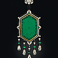 An art deco emerald, diamond, onyx and enamel necklace