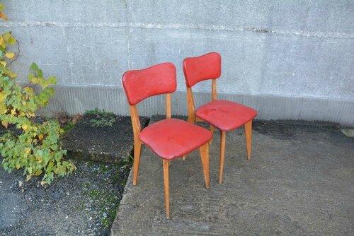 solde chaises en vinyl rouge la petite brocanteuse. Black Bedroom Furniture Sets. Home Design Ideas