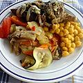 Tajine de mouton aux épices et courgettes aux pois chiches