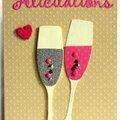 carte de félicitations avec flûtes de champagne argenté et rose