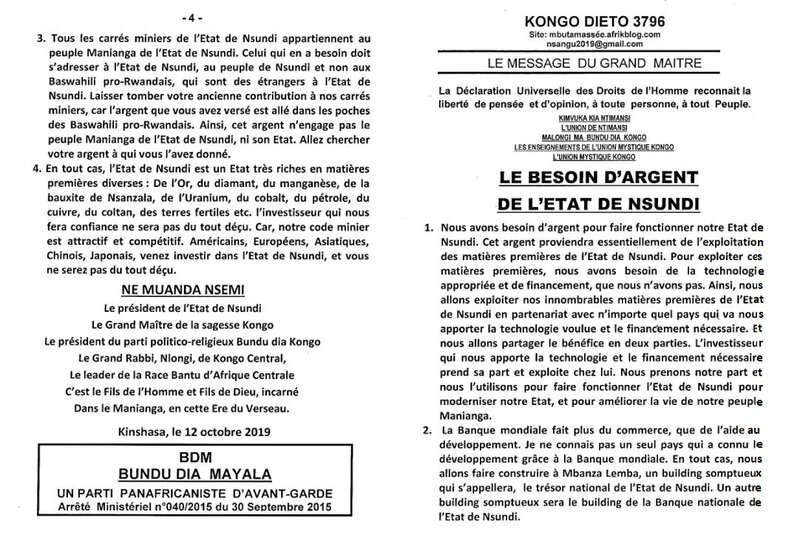 LE BESOIN D'ARGENT DE L'ETAT DE NSUNDI a