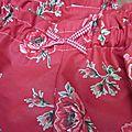 Culotte BIANCA en coton rouge imprimé coquelicots et noeud de vichy rouge (3)