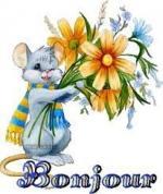 bonjour souris fleurs