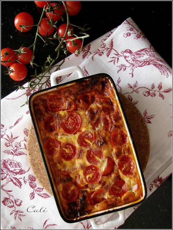 Clafoutis aux Tomates Cerises, Chorizo & Feta 001