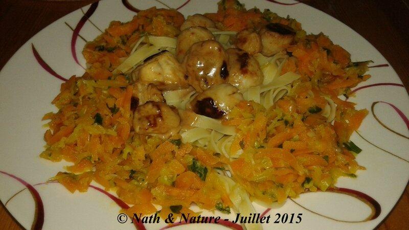 Noix de Saint Jacques et couronne de légumes sur lit de pâtes - 2