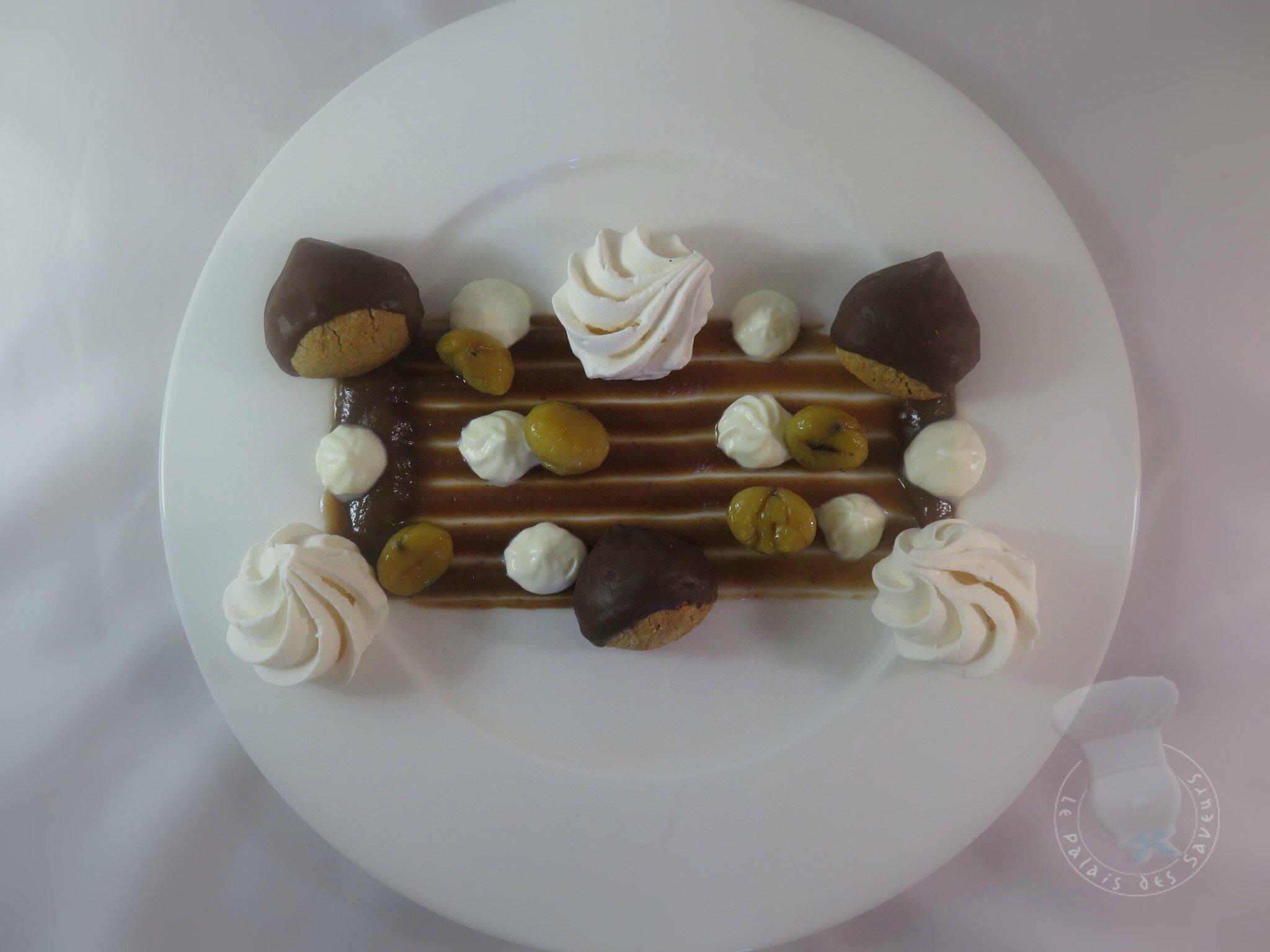 Dessert à l'assiette Mont-blanc
