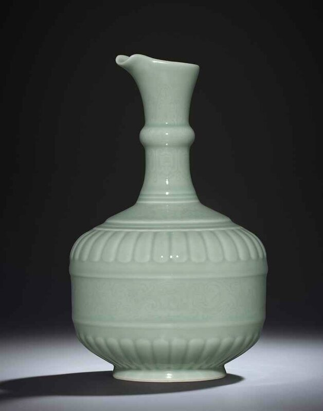 A fine and rare celadon-glazed ewer, Yongzheng six-character seal mark and period (1723-1735)
