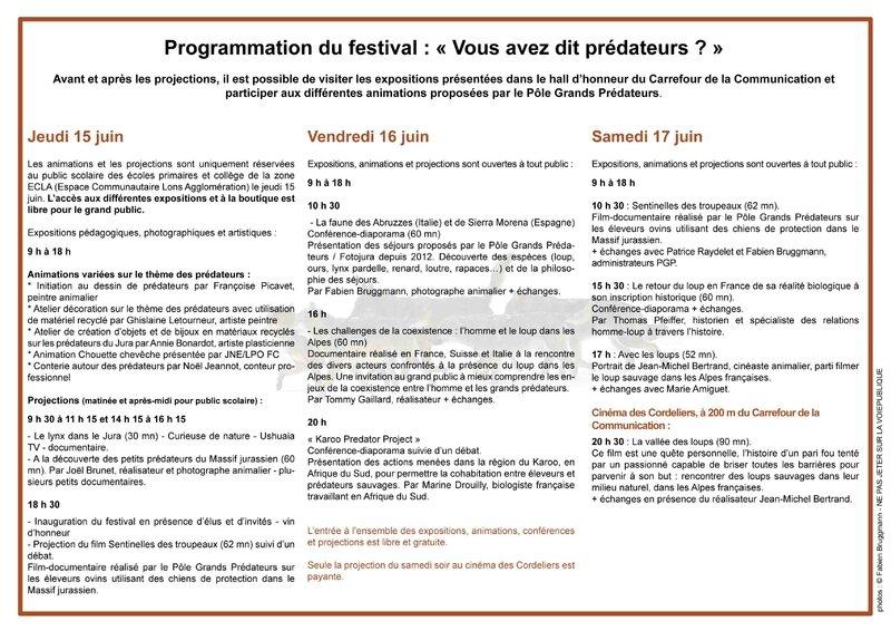 Programme Festival prédateurs Lons-le-Saunier Jura 2017