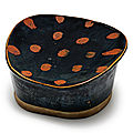 A russet-splashed black-glazed pillow, Song dynasty (960-1279)