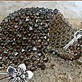 Toupies cristal swarovski taupe