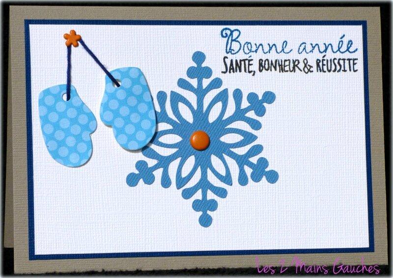 carte de voeux avec flocon bleu et moufles à pois