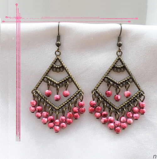 Boucles d'Oreilles Style Oriental Janan Perles Rose Métal Couleur Bronze
