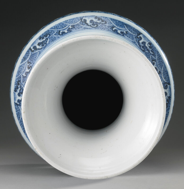 A blue and white archaistic vase, Qing dynasty, 18th century3