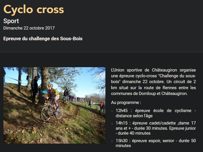 Cyclo cross Domloup Châteaugiron 2019