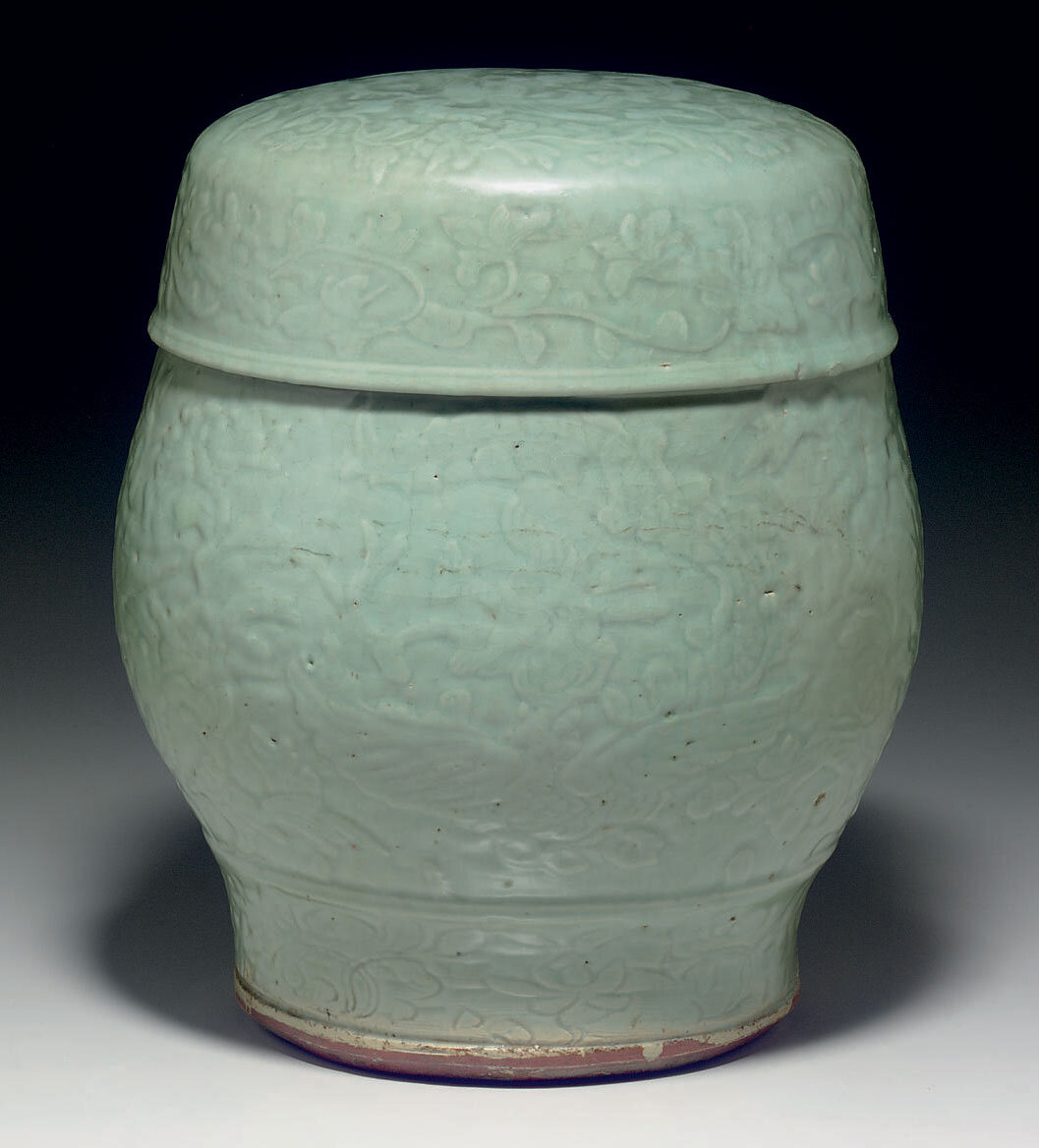 A Longquan celadon drum-shaped garden seat, Ming dynasty, 15th-16th century