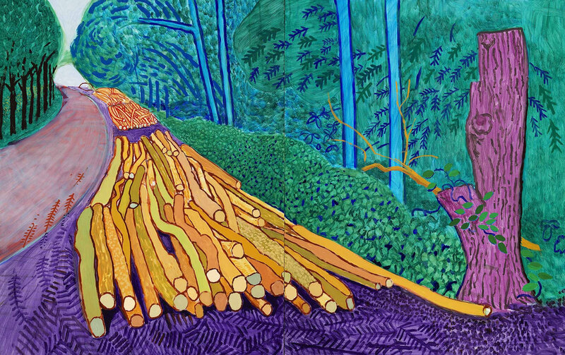 David Hockney, 'More Felled Trees on Woldgate', 2008