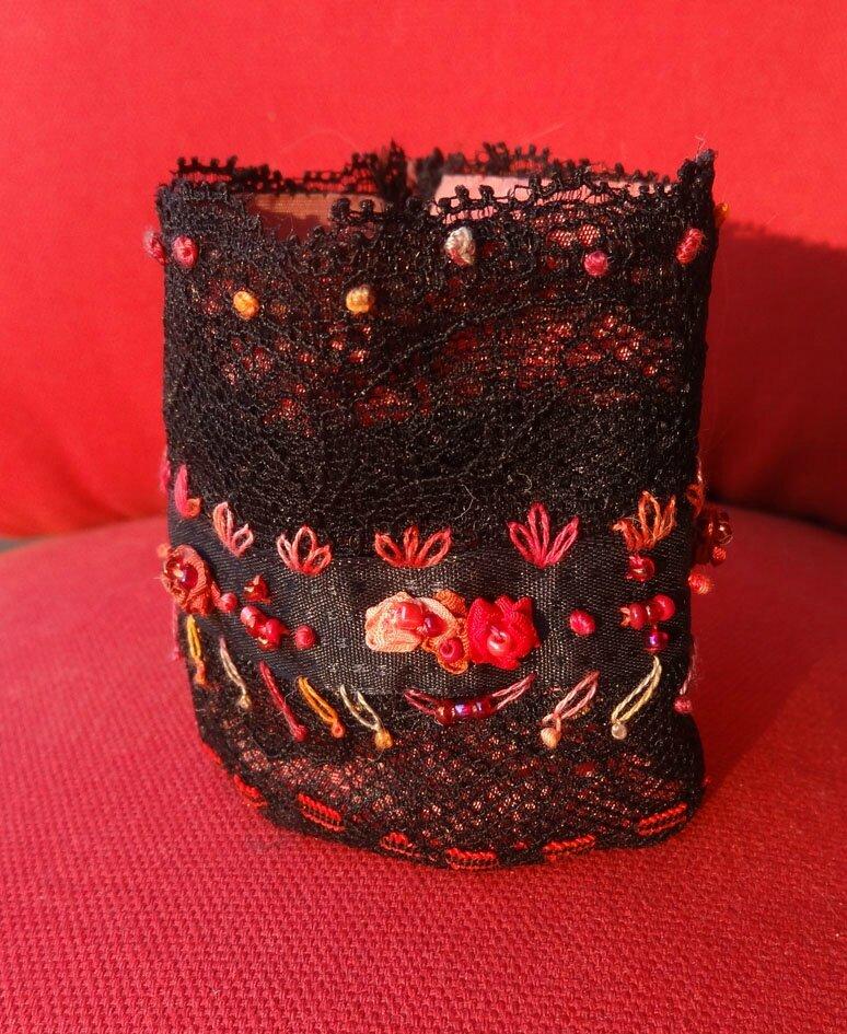 bracelet manchette noire rouge (7)