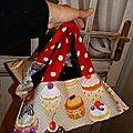 Sac à tarte gourmand en toile enduite avec cupcakes et pommes