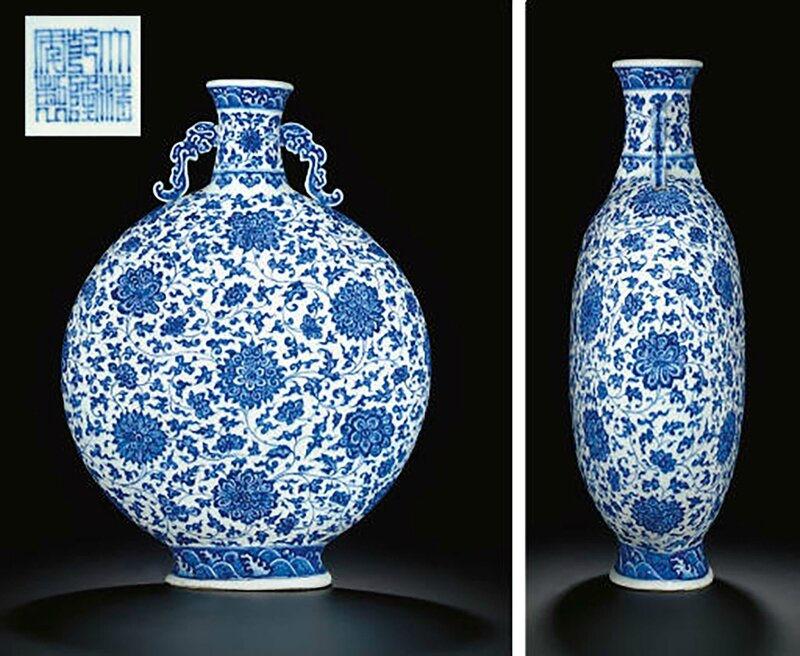 A very rare large blue and white moonflask, Qianlong seal mark in underglaze blue and of the period (1736-1795)