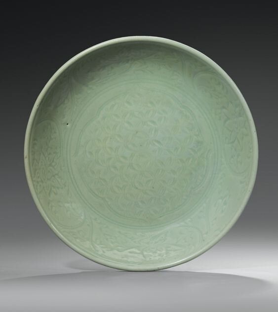 A Longquan celadon dish, China, Ming dynasty, 15th-16th century