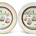Two famille Rose and gilt-enamelled 'Table Mountain' plates, Qianlong period (1736-1795)