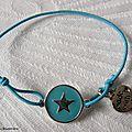 Bracelet Star turquoise sur fil élastique turquoise