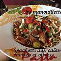 Spaghetti aux calamars, chorizo et