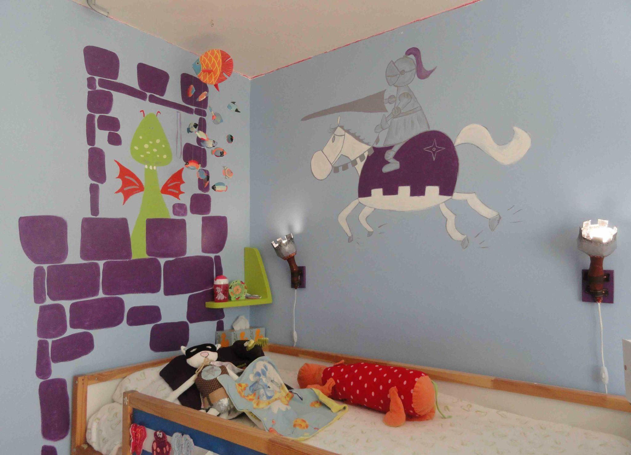 deco de chambre chevalier et dragon dans le chateau fort - Ch²m²