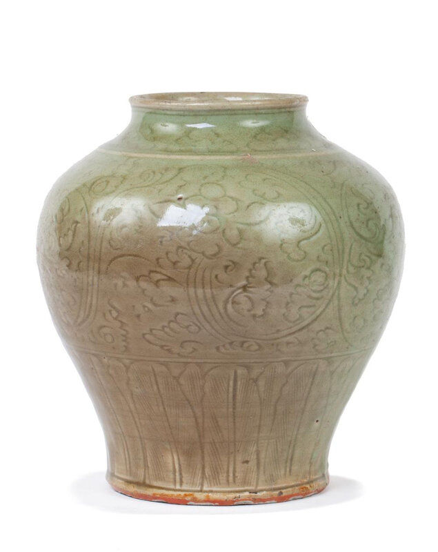 A good celadon glaze incised baluster jar, Ming dynasty (1368-1644)