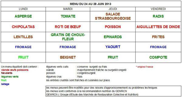 Menus Cantine 24 au 28 juin 2013