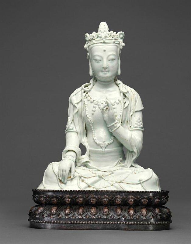 An exceedingly rare Qingbai seated figure of a bodhisattva, Yuan dynasty (1279-1368)