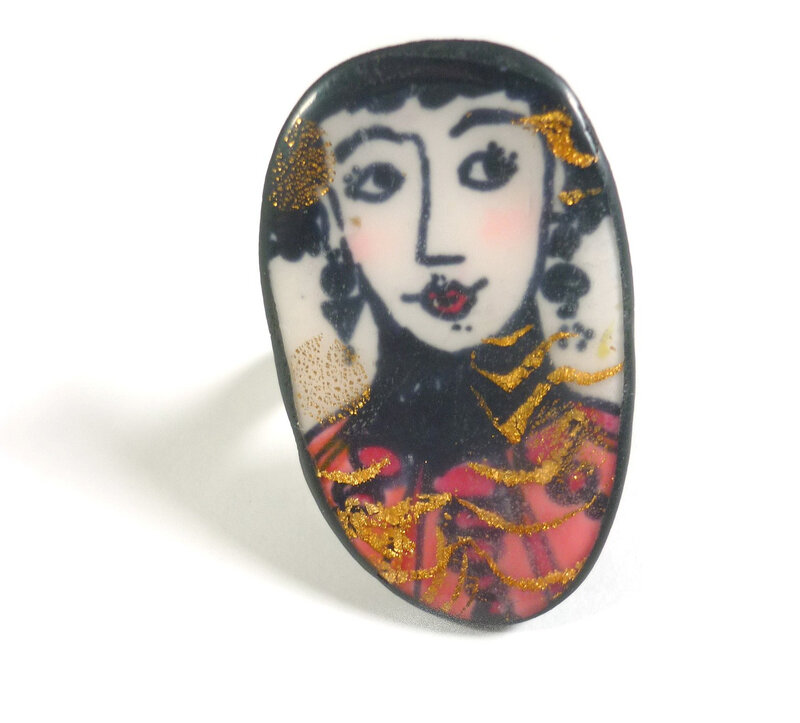 bague ring polymer clay-Chifonie