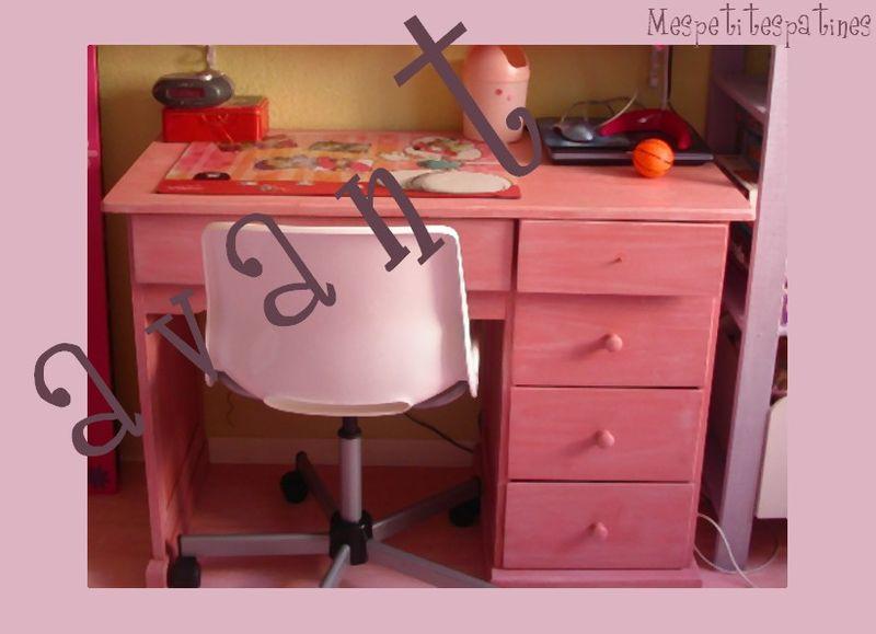 bureau de petite fille avant apr s mes petites patines. Black Bedroom Furniture Sets. Home Design Ideas