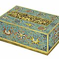 A rectangular 'dragon and bajixiang' cloisonné enamel box and cover, 18th century