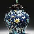 A large fahua 'Lotus' jar, guan, Ming dynasty