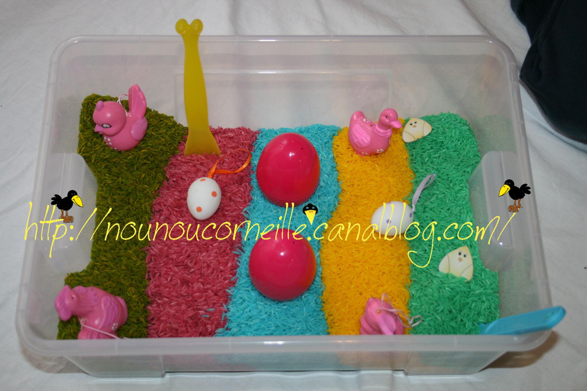 Bac sensoriel riz de couleurs