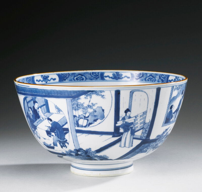A large blue and white 'figural' bowl, Qing dynasty, Kangxi period (1662-1722)
