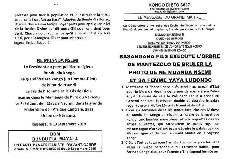 BASANGANA FILS EXECUTE L'ORDRE DE MANTEZOLO DE BRULER LA PHOTO DE NE MUANDA NSEMI ET SA FEMME YAYA LUBONDO a