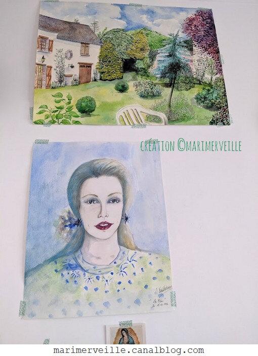 portrait - jardin aquarelle - illustration - création ©Marimerveille