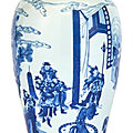 A fine chinese blue and white porcelain baluster vase, kangxi period (1662-1722)