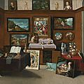 Frans francken the younger (antwerp 1581 – 1642), the interior of a picture gallery with connoisseurs admiring paintings