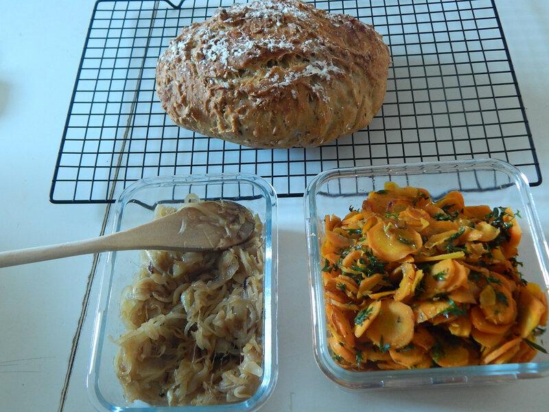 légumes et pain sans pétrissage