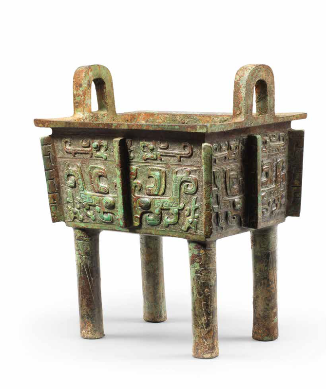 A very rare archaic bronze ritual food vessel, Fangding, Late Shang-early Western Zhou Dynasty, inscribed Zhu Fu Ding