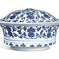 An extremely fine and rare blue and white 'Bajixiang' bowl and cover, Marks and period of Xuande