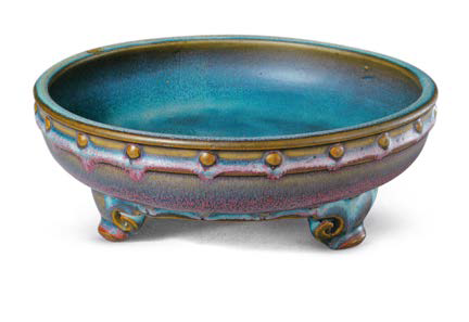 Purple-glazed 'Numbered one' Jun bulb bowl with drum-nail design, Song dynasty, 24