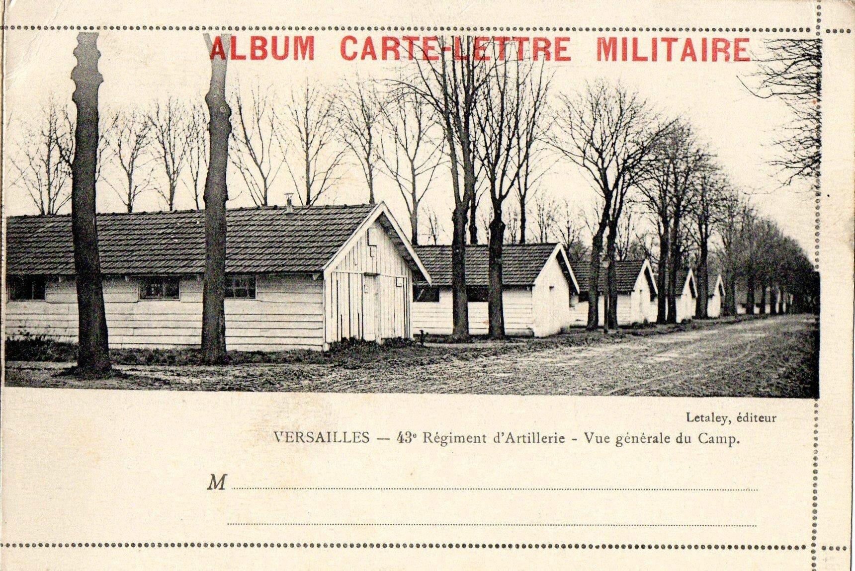 Camp de Satory, Versailles, Album carte-lettre militaire du 43e RAC, Vue générale du Camp