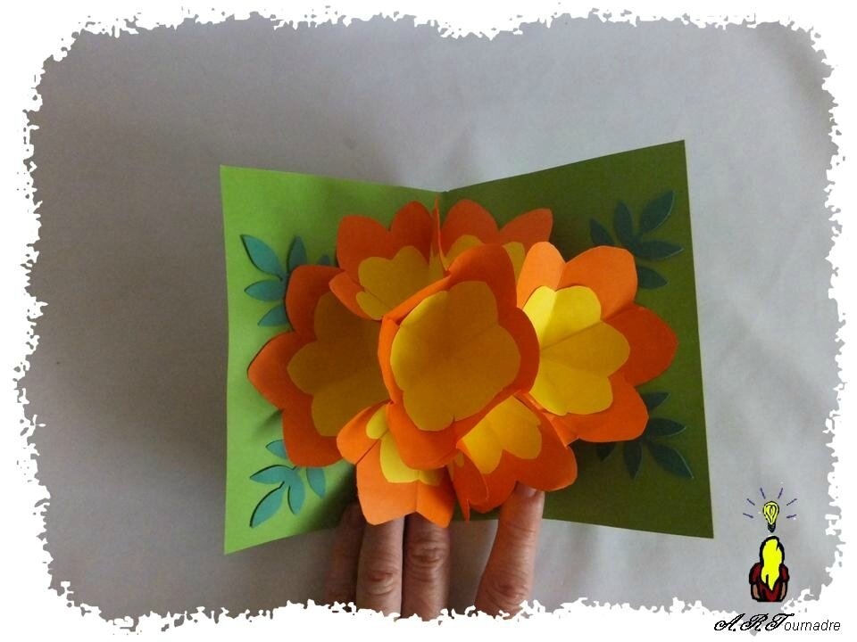 Carte Pop Up La Grosse Fleur Orange Et Jaune Les Passions D Art