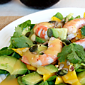 Salade crevettes-avocat-mangue