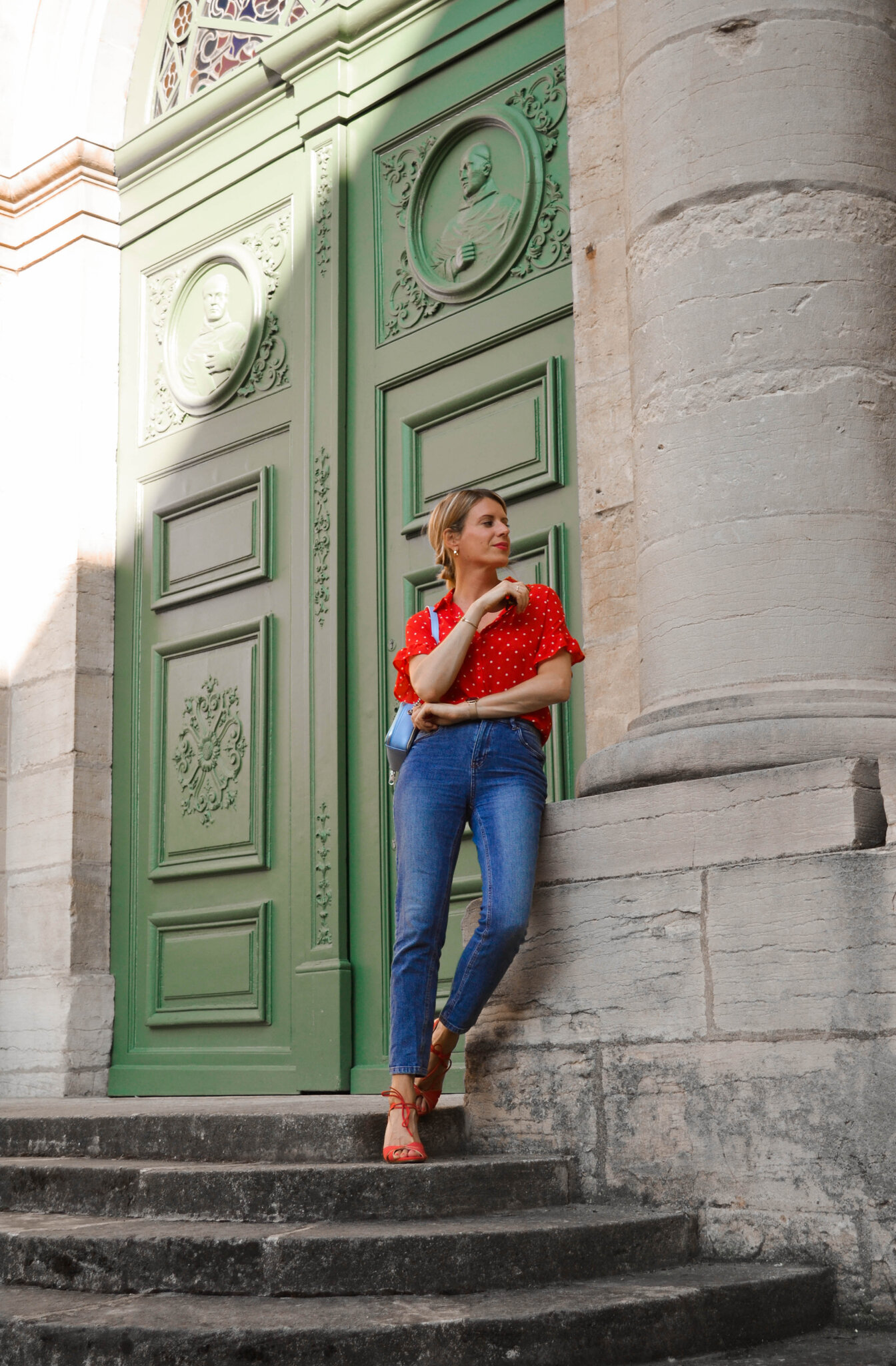 Look look look # Chemise rouge à petits pois